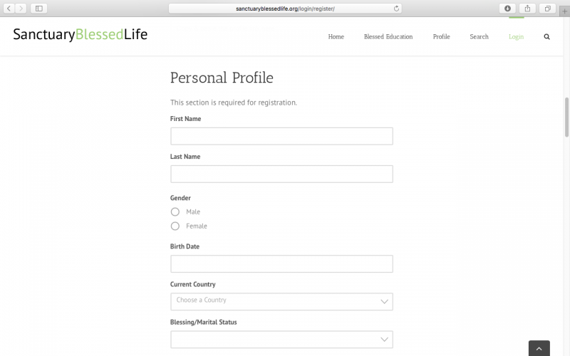 Why are all of these questions necessary for the personal profile? - Sanctuary Blessed Life - Blessing & Matching Directory